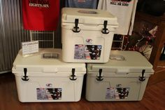Ole Miss Lit Coolers small $359.99, large gray $429.99, and large white $389.00