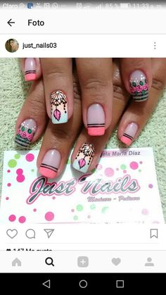 #unasdecoradas Cute Nail Art, Cute Nails, Hair And Nails, My Nails, Funky Nails, French Tip Nails, How To Do Nails, Pedicure, Nail Designs