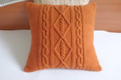 Cable knit cushion cover rust, hand knit pillow cover terracotta, decorative couch pillow, knitted throw pillow, copper knit pillow sham
