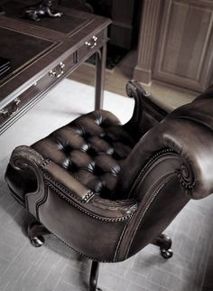 Luxury office desk and leather chair
