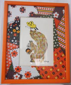 vtg 60s SOOVIA JANIS PRINT Mod Pop Art Squirrel Butterfly Animal Orange Signed #PopArt