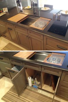 The Galley - Reinventing the Kitchen - 4' Undermount Galley Sink with 2-burner induction cooktop and pull-out trash storage beneath!
