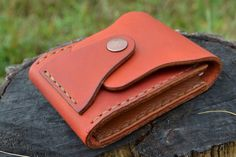 Leather Wallet-Men Wallet-Leather Card Holder Leather-Handmade Terracotta.