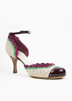 Marc Jacobs Ivory, Green And Fuchsia Pump