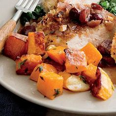 For a fresh and tasty alternative to potatoes or rice, serve Garlic and Thyme Roasted Butternut Squash on the side of your favorite entree.