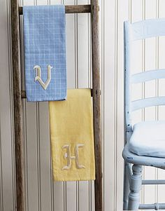 Monogram tea towels and bath towels for personalized gifts. These embroidered stick-on appliqués, found at craft stores, make a terrific shortcut.