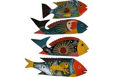 Folk Fish School, Set of 4 on OneKingsLane.com Hand-painted & beautifully decorated $195  - SOLD  20L x 7H
