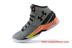 Women's UA Curry 2 Under Armour Grey Orange Black Basketball Shoes