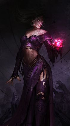Liliana Vess and the pink hand of DOOM! by theDURRRRIAN Planeswalker female sorceress wizard witch warlock sorcerer necromancer armor clothes clothing fashion player character npc | Create your own roleplaying game material w/ RPG Bard: www.rpgbard.com | Writing inspiration for Dungeons and Dragons DND D&D Pathfinder PFRPG Warhammer 40k Star Wars Shadowrun Call of Cthulhu Lord of the Rings LoTR + d20 fantasy science fiction scifi horror design | Not Trusty Sword art: click artwork for source