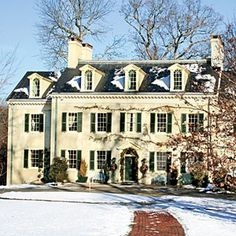 White brick Georgian with dormers, symmetrical chimneys. Looks like the home alone house Georgian Homes, Second Empire, Southern Homes, Southern Living, Old Houses, Pink Houses, White Houses, My Dream Home, Dream Life