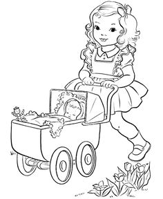 girl with doll buggy Cute Coloring Pages, Adult Coloring Pages, Coloring Pages For Kids, Coloring Sheets, Human Drawing, Line Drawing, Vintage Embroidery, Embroidery Designs, Vintage Coloring Books