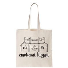 Clearance! Emotional Baggage tote 100% cotton canvas bag. Approx 14.5 x 15.5. Salt Lake Clothing Bags Totes