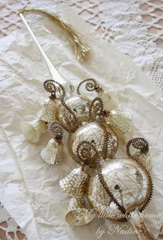 Silver Vintage Glass Tree Topper with Bells