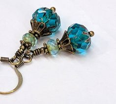 Colorful Teal Bead Earrings Czech Glass Boho Chic Earrings Jewelry Deep Rich Teal Blue Antiqued Brass Earrings Jewelry Gift For Her by CharmedbyBonnie on Etsy Boho Jewelry, Jewelry Crafts, Antique Jewelry, Beaded Jewelry, Handmade Jewelry, Jewelry Design, Horse Jewelry, Jewelry Ideas, Victorian Jewelry