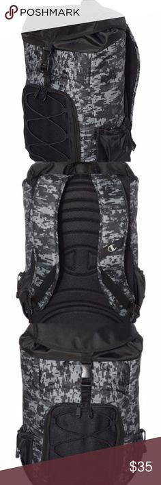 "Champion - 28L Rogue Backpack - CH104123, NEW Black and Camo are 420D nylon, Charcoal/Black is 420D polyester linen Large main buckle and drawstring closure compartment,  clip buckle top flap Padded adjustable ventilated shoulder straps Top carry handle Padded laptop sleeve, fits most 15"" laptops Front zippered pocket with bungee detail, opens to interior organizer Side drawstring pockets Ergonomically padded back panel with extra lumber and wing support Bungee cord tie-down on front 13""W x…"