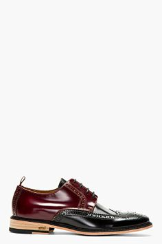 Ami Burgundy & Black Quarter Brogue Shoes for men | SSENSE