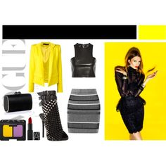 Yellow Is the New Black by vanessaeale on Polyvore featuring mode, Balmain, Alexandre Vauthier, T By Alexander Wang, Giuseppe Zanotti, Jimmy Choo and NARS Cosmetics