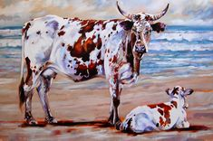 Nguni Mother & Calf Transkei One of the unique sights on the Transkei coastline is the Indigenous Nguni Cattle on the beach. This recen. Bull Painting, Ceramic Painting, Cow Art, Rind, Canvas Art, Canvas Paintings, Animal Paintings, My Animal, Cattle