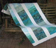 Lap Quilt  Sea Breeze Batik by QuiltsintheCity on Etsy,