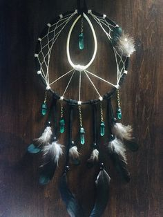 Excited to share the latest addition to my shop: Leather and Bone Dream Catcher with Ice Green Quartz / Bone Dreamcatcher / Quartz Dreamcatcher / Green Old Wine Bottles, Wine Bottle Crafts, Clay Pot Crafts, Shell Crafts, Wicca, Diy Dream Catcher Tutorial, Dream Catcher Art, Horseshoe Art, Witch Decor