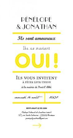 faire-part de mariage Un grand oui ! by Marion Bizet pour www.fairepart.fr #jaune #wedding #yellow