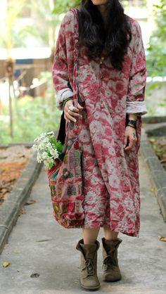 Women print dress cotton linen dress maxi dress / long by chaxuan