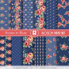 Blue Navy Digital Paper Pack, Blue Floral Scrapbooking, Cottage Papers, Floral Digital Paper, Wedding Papers - 1740