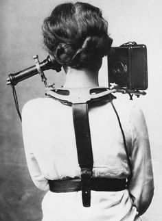 Frees up hands Smart Phone. Circa 1880, this early switchboard operator hardware weighed 6 pounds.