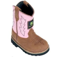4308a5f3 John Deere Infants Pink Leather Wellington JD1185. Little Girl Cowboy BootsPink  Cowgirl BootsCowgirl OutfitsBaby ...