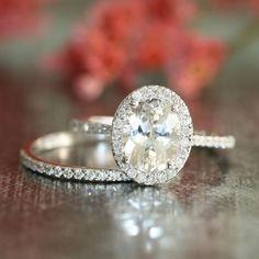 Wedding Set of Halo Diamond Engagement Ring with door LaMoreDesign