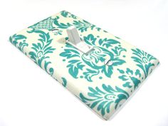 Teal Blue and White Damask Cottage Chic Home Decor Floral Print Light Switch Cover Switchplate