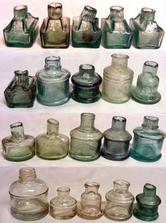 Collection of vintage ink bottles