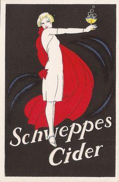 - Schweppes Cider, Vintage Advert from Art Print) - inspiration for smoothie poster 1920s Advertisements, Vintage Advertising Posters, Print Advertising, Vintage Posters, 1920s Ads, Retro Poster, Poster Ads, Poster Prints, Art Prints