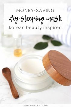 DIY Sleeping Mask. Wake up to dewy, glowing skin with this easy homemade sleeping mask! Inspired by Korean skin care, this overnight face mask helps keep your skin moisturized all night long. It won't clog pores, and it contains no fragrances, essential oils, or coconut oil. Suitable for dry, sensitive, and mature skin types. #alifeadjacent #PimplesUnderTheSkin