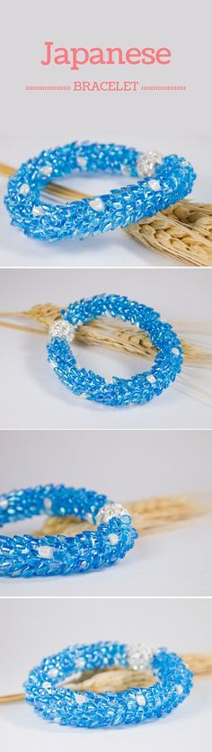 Seed beaded bracelet: ♥ https://www.etsy.com/ca/listing/262425089/seed-beaded-bracelet-kumihimo-bracelet ♥ kumihimo bracelet japanese sky blue white  women jewelry what gift for her under 50 rhinestone magnetic clasp - pinned by pin4etsy.com