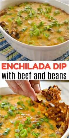 Enchilada Dip with Beef and Beans Mexican Food Recipes, Beef Recipes, Cooking Recipes, Ethnic Recipes, Cake Recipes, Kitchen Recipes, Turkey Recipes, Yummy Recipes, Appetizer Salads