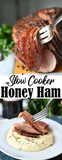 Slow cooker honey glazed ham is cooked to perfection, tender with a delicious glaze. Stew Meat Recipes, Meat Recipes For Dinner, Easy Meat Recipes, Ham Recipes, Slow Cooker Recipes, Crockpot Recipes, Easter Recipes, Crockpot Meat, Thanksgiving Recipes