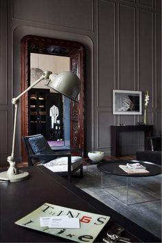Home Decoration Design Ideas Masculine Interior, Gray Interior, Classic Interior, Interior Exterior, Interior Styling, Interior Architecture, Interior Decorating, Masculine Office, Dark Interiors