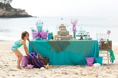 love this party idea. Page 9 - 15 Amazing Kids' Birthday Party Themes - ParentMap Little Mermaid Birthday, Little Mermaid Parties, Party Printables, Mermaid Beach, Ariel Mermaid, Baby Mermaid, Mermaid Princess, Party Decoration, Table Decorations