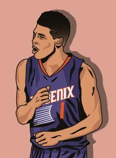 Devin Booker Wallpaper, D Book, Phoenix Suns, Nba Players, Design Case, Nba Basketball, Face Art, Cartoon Art, Husband