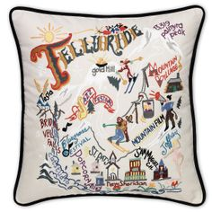 Embroidered Telluride Colorado pillows feature familiar names and landmarks found in this resort city.