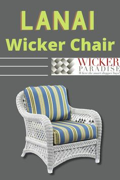 Our Lanai white wicker chair features plush comfort and traditional style perfect for a porch, sunroom or other living space. #wicker #wickerfurniture #chair #porch #white