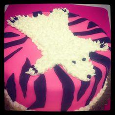 Y Pink Zebra Bear Skin Rug Bachelorette Cake