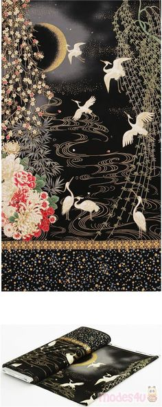 Cotton fabric with gold metallic accents in Japanese theme with cranes, bamboo leavws, crescent moon, and chrysanthemum flowers in red and cream outlined in gold #Cotton #Animals #AnimalPrint #Metallic #FullPattern #DigitallyPrinted #OtherAnimals #Insects #USAFabrics