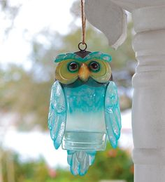 Recycled Bottle Owl - beautiful coloring, hangs outside and looks great, hangs inside and looks great.