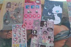 Kawaii Mixed sticker sheets - Jewel Cat and Hello Kitty