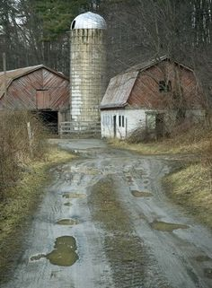 Love this, 'cause I can picture the labor of love...painting the silo white, painting those barns, graveling that driveway....