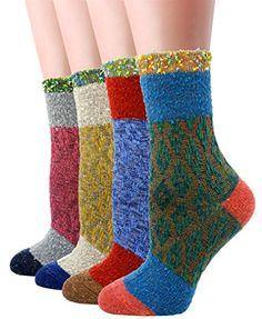 LITTONE Women's Cotton Vintage Design Knitted Soft Crew Socks Cotton Socks, Taps, Crew Socks, Vintage Designs, Christmas Stockings, Tights, Amazon, Fashion, Needlepoint Christmas Stockings