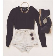 shirt jewels shoes shorts dress high waisted shorts, outfit, sweater, combat boots sweater black, knitted jumper small black boots blouse tumblr clothes tumblr shirt