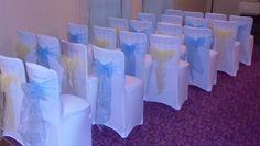 cornflower blue and yellow Wedding chair covers Yellow Wedding, Wedding Chairs, Chair Covers, Our Wedding, Reception, Blue, Chair Sashes, Receptions, Receptionist